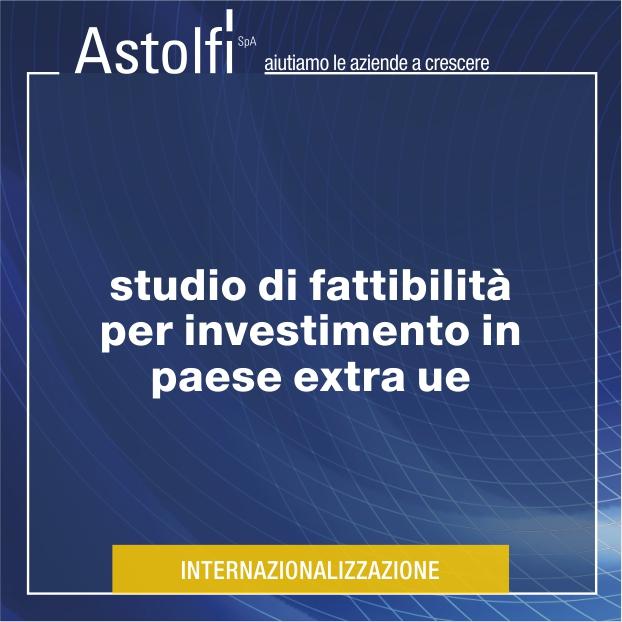 STUDI DI FATTIBILITÀ PER INVESTIMENTO IN PAESI EXTRA UE